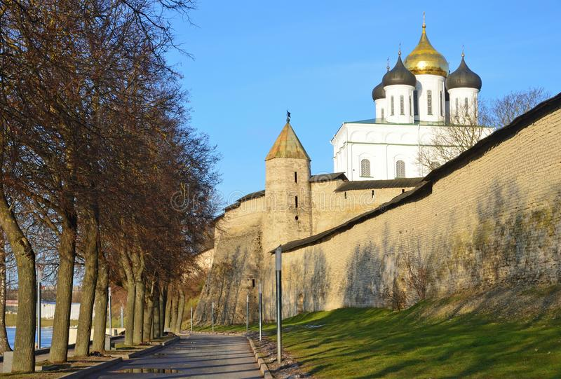 Pskov, Russia, the embankment of the river Velikaya near the walls of ancient Pskov Kremlin stock photography