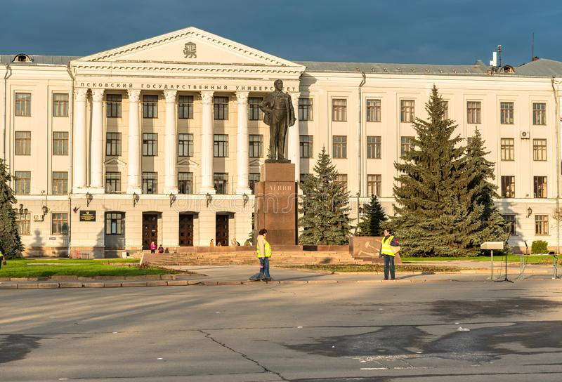 View of Lenin Square with Monument to Vladimir Lenin in front of the Pskov State University, Russia stock image