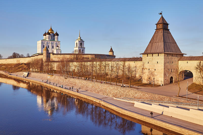 Download Pskov. Spring. Fishermen On River Quay Great. Fortification Stock Photo - Image: 66626038