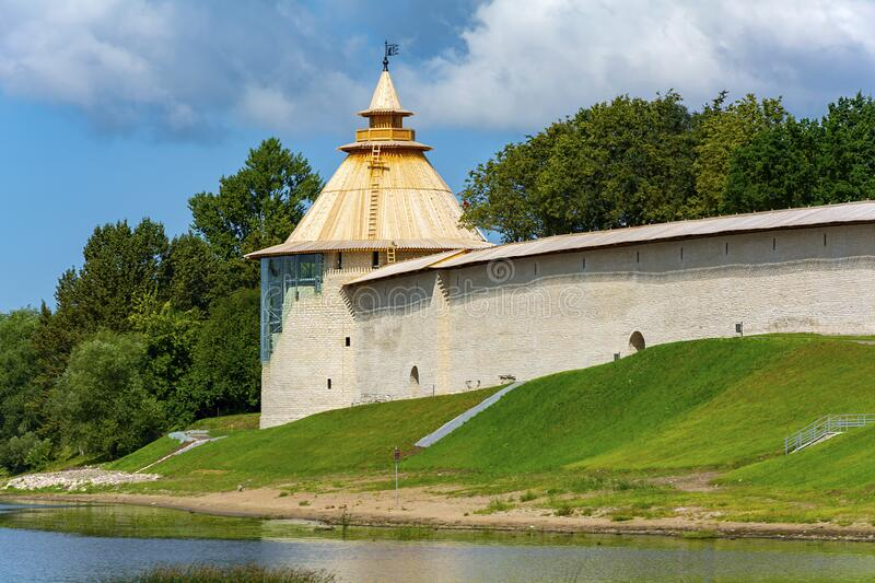 Pskov, Varlamov Corner tower of the Roundabout town on the shore of Velikaya river royalty free stock images