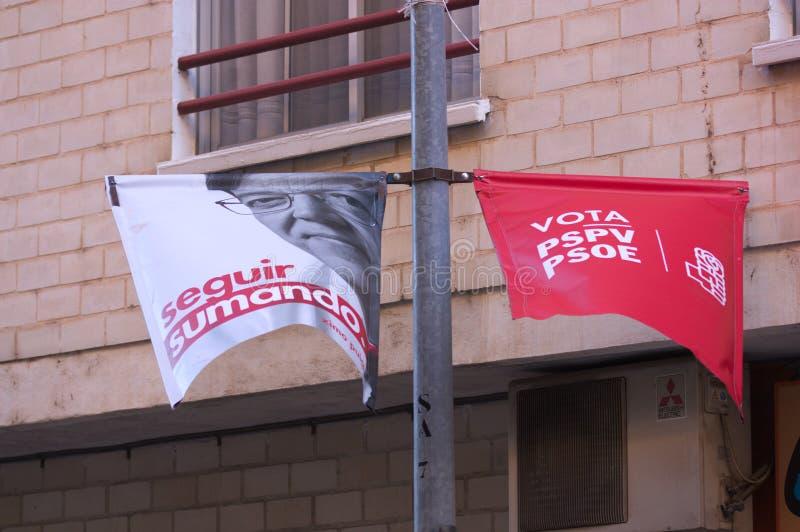 PSOE的选举宣传自治权竞选的 免版税图库摄影