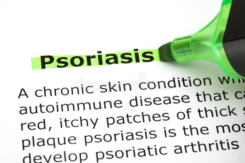 Psoriasis Highlighted With Green Marker. Dictionary definition of the word Psoriasis highlighted with green marker pen royalty free stock photo