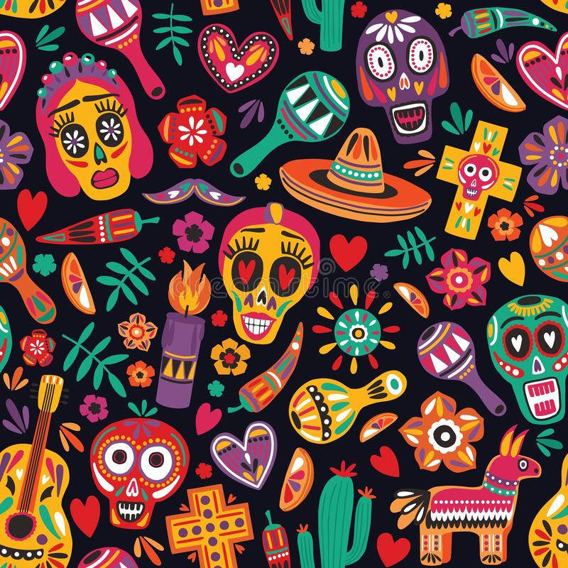 Pstrobarwny bezszwowy wzór z tradycyjnymi meksykanina Dia De Los Muertos dekoracjami na czarnym tle Wakacyjny tło ilustracja wektor