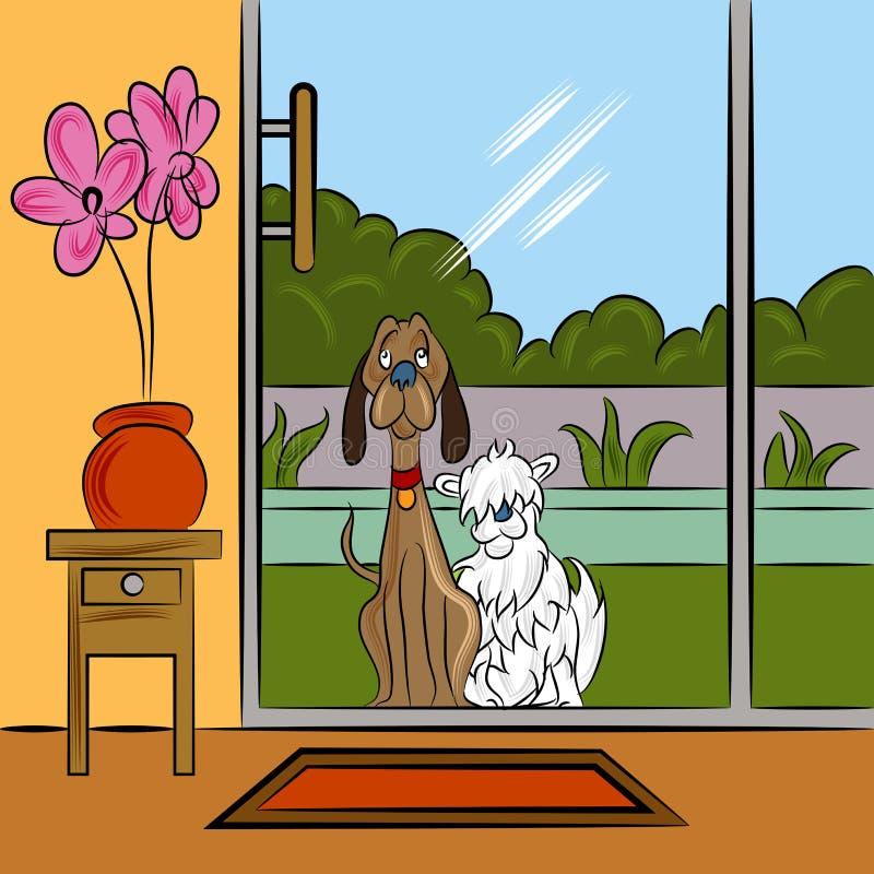 Psy Błaga Przy drzwi ilustracja wektor