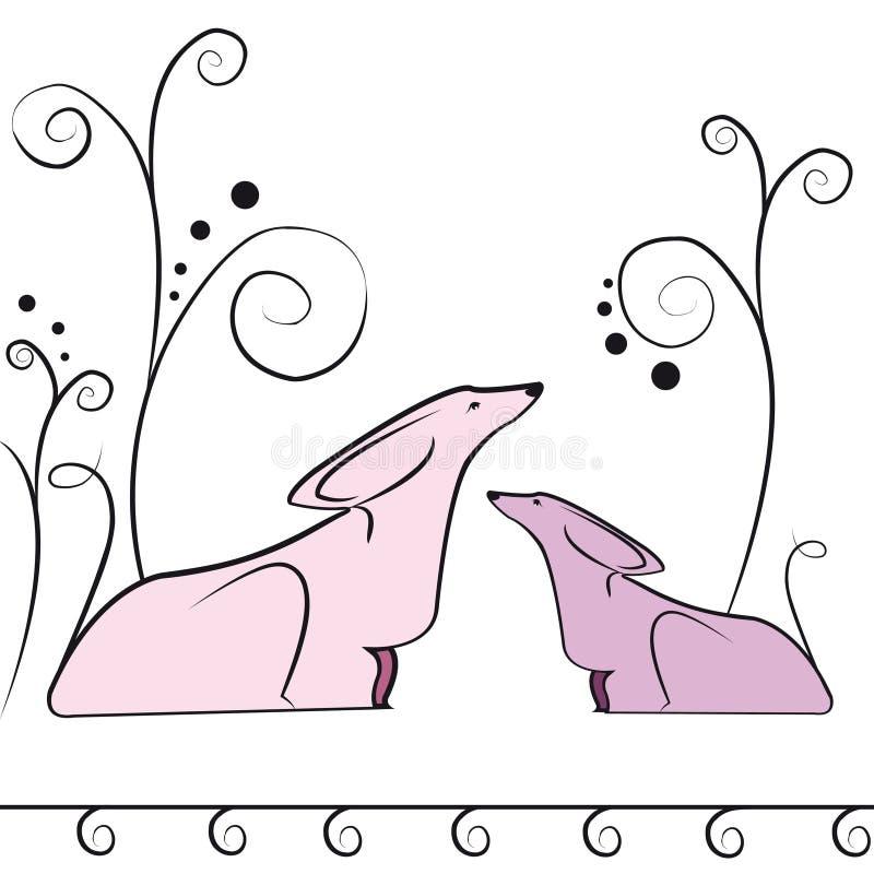 psy dwa ilustracja wektor