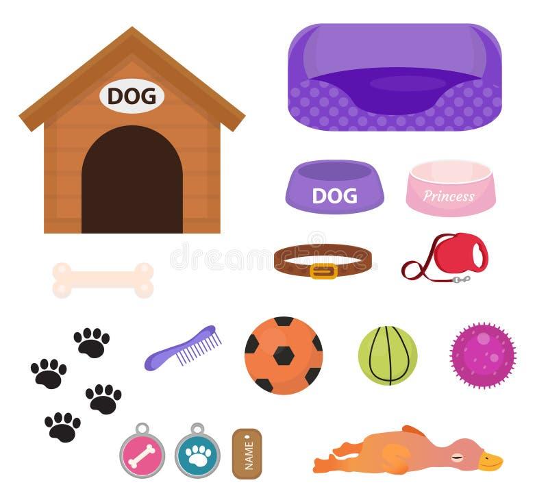 Psy faszerują ikonę ustawiającą z akcesoriami dla zwierząt domowych, mieszkanie styl na białym tle, Szczeniak zabawka Doghouse, k royalty ilustracja
