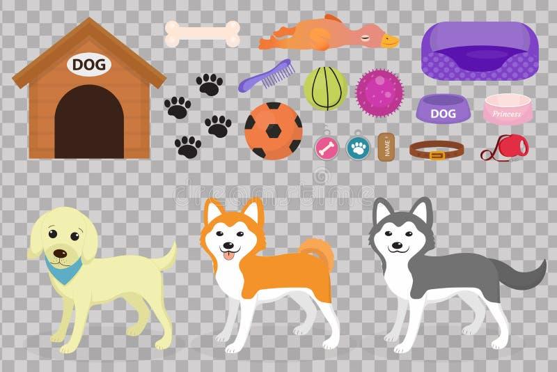 Psy faszerują ikonę ustawiającą z akcesoriami dla zwierząt domowych, mieszkanie styl na białym tle, Zwierze domowy inkasowi ilustracji