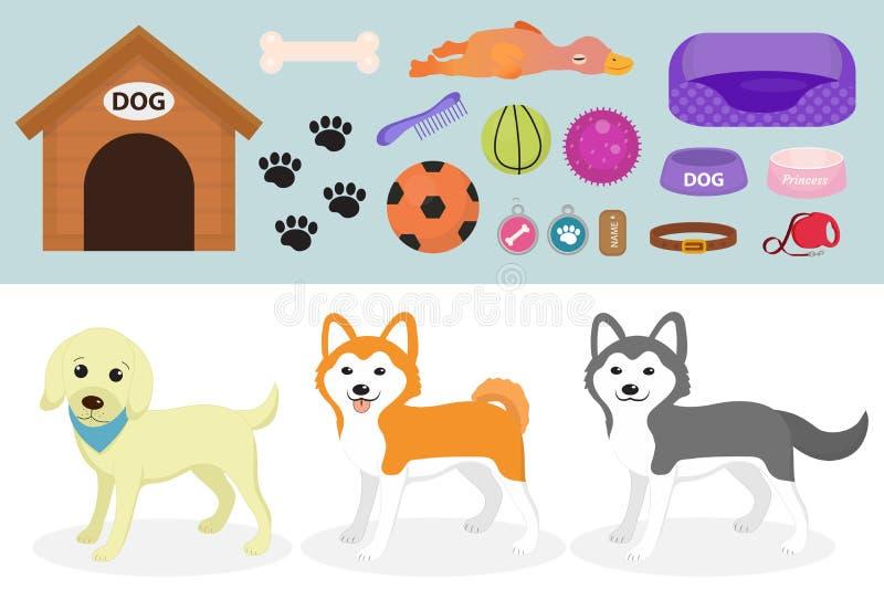 Psy faszerują ikonę ustawiającą z akcesoriami dla zwierząt domowych, mieszkanie styl, odizolowywający na białym tle Zwierze domow ilustracji