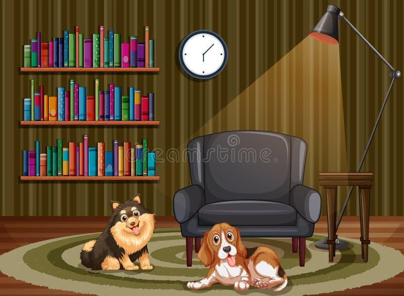 Psy i żywy pokój ilustracji