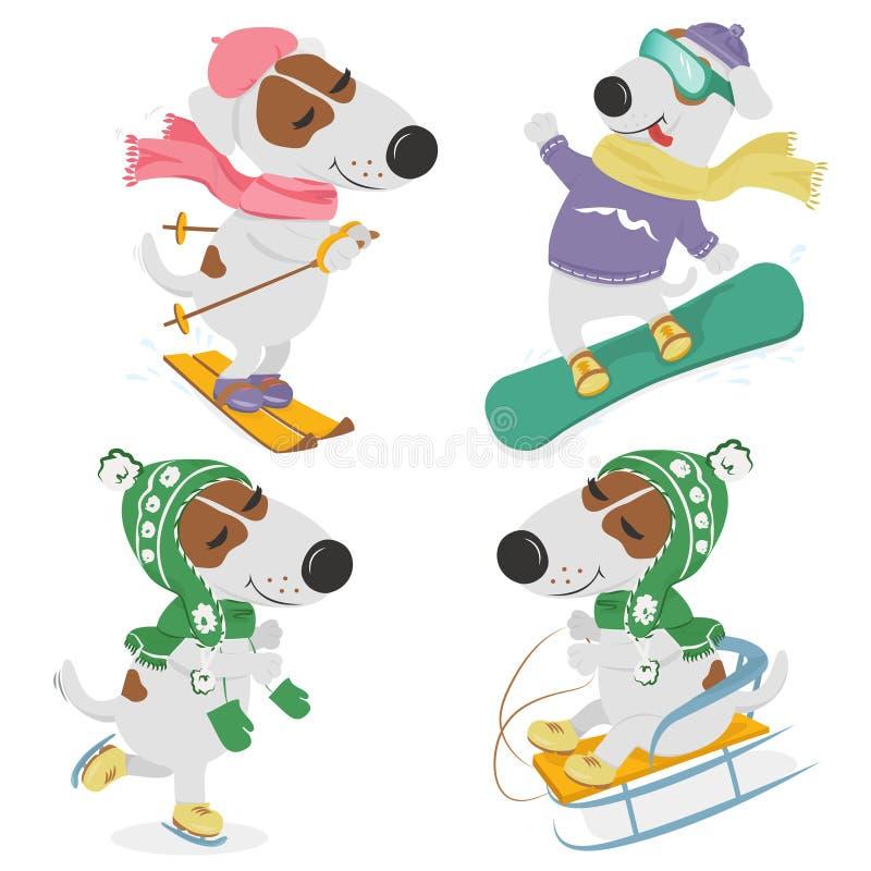 Psy i zima sporty royalty ilustracja