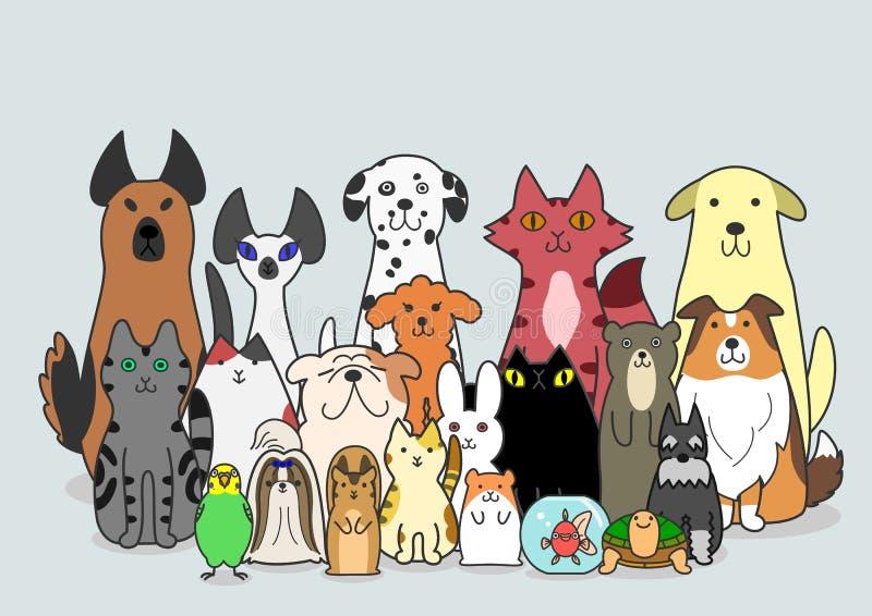 Psy, koty i mała zwierzę grupa, ilustracja wektor