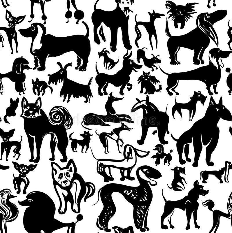 psy ustawiają Atramentu doodle psiny ilustracja wektor