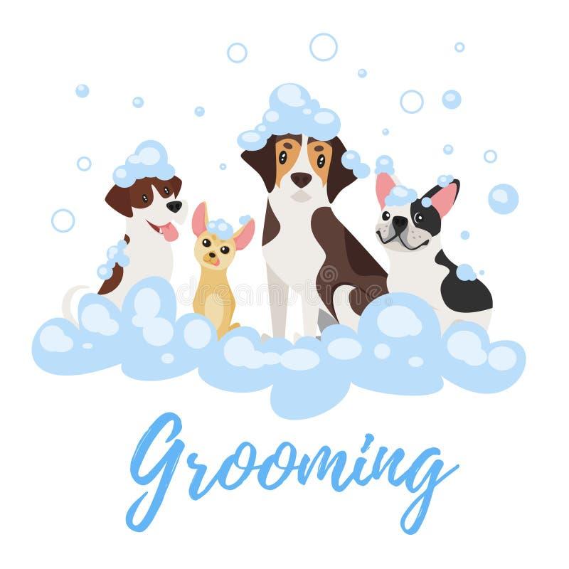 Psy w mydło pianie royalty ilustracja
