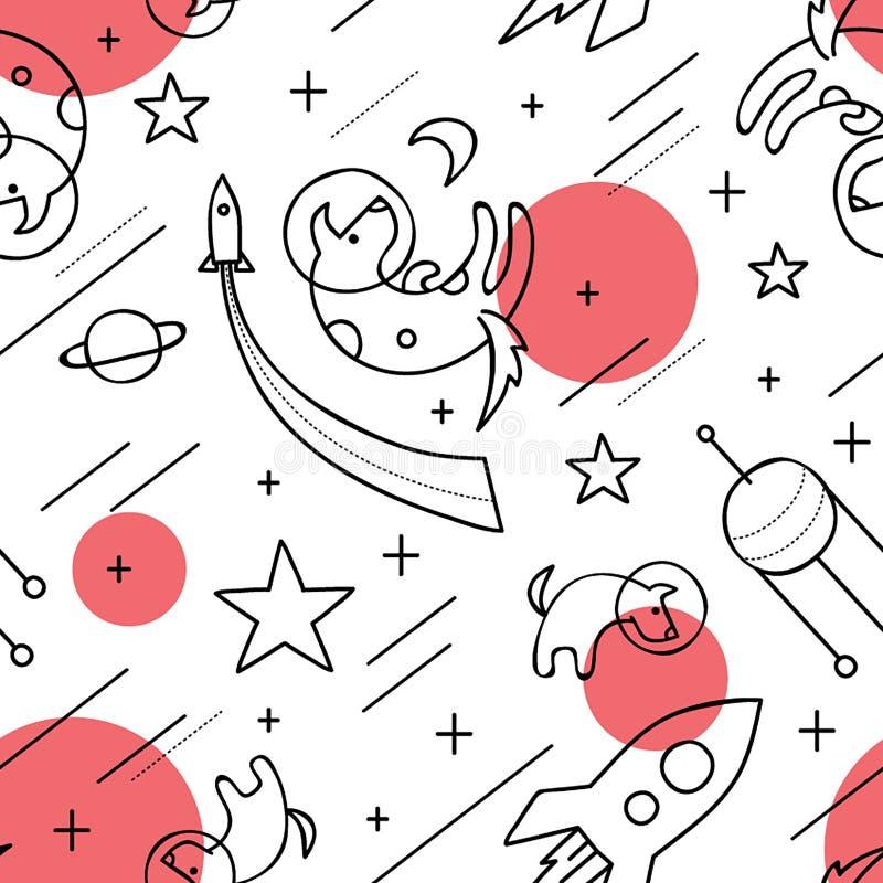 Psy w przestrzeni ilustracji