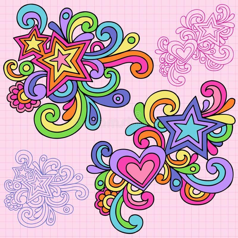 Psychedelic διάνυσμα Doodle καρδιών και σημειωματάριων αστεριών διανυσματική απεικόνιση