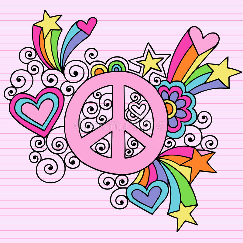 Psychedelic διάνυσμα Doodle σημειωματάριων σημαδιών ειρήνης διανυσματική απεικόνιση