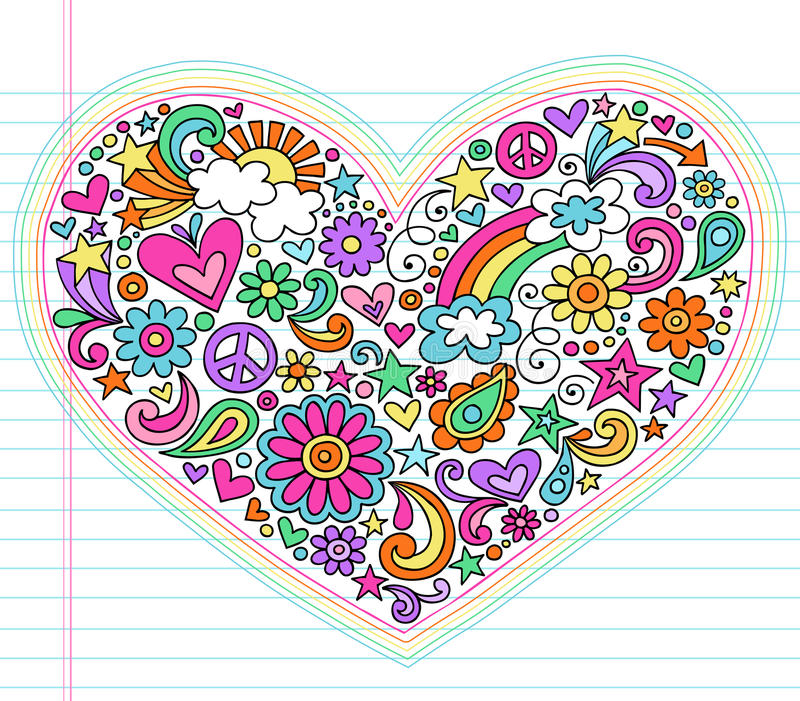 Psychedelic διανυσματικό σύνολο Doodles αγάπης καρδιών ελεύθερη απεικόνιση δικαιώματος