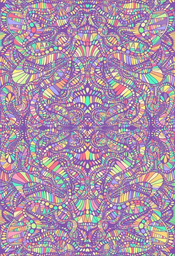 Psychedelic ζωηρόχρωμο διακοσμητικό υπόβαθρο μωσαϊκών Διακοσμητική αφηρημένη σύσταση καλειδοσκόπιων Διανυσματική φαντασία υπερφυσ ελεύθερη απεικόνιση δικαιώματος