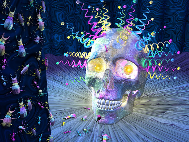 Psychedelic κρανίο εντόμων Στοκ Εικόνα