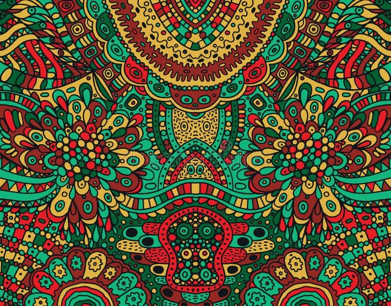 Psychedelic κόκκινο, πράσινο και καφετί χρωματισμένο συμμετρικό υπόβαθρο Ζωηρόχρωμη φανταστική διακόσμηση κινούμενων σχεδίων dood διανυσματική απεικόνιση