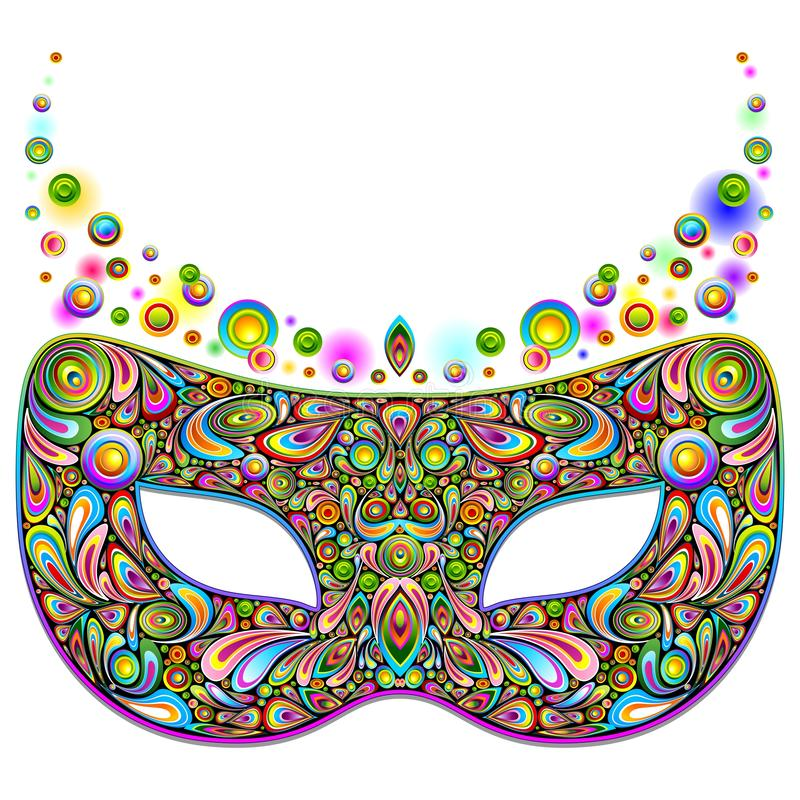 Psychedelic κόμμα νύχτας καρναβαλιού μασκών που απομονώνεται στην άσπρη διανυσματική απεικόνιση διανυσματική απεικόνιση