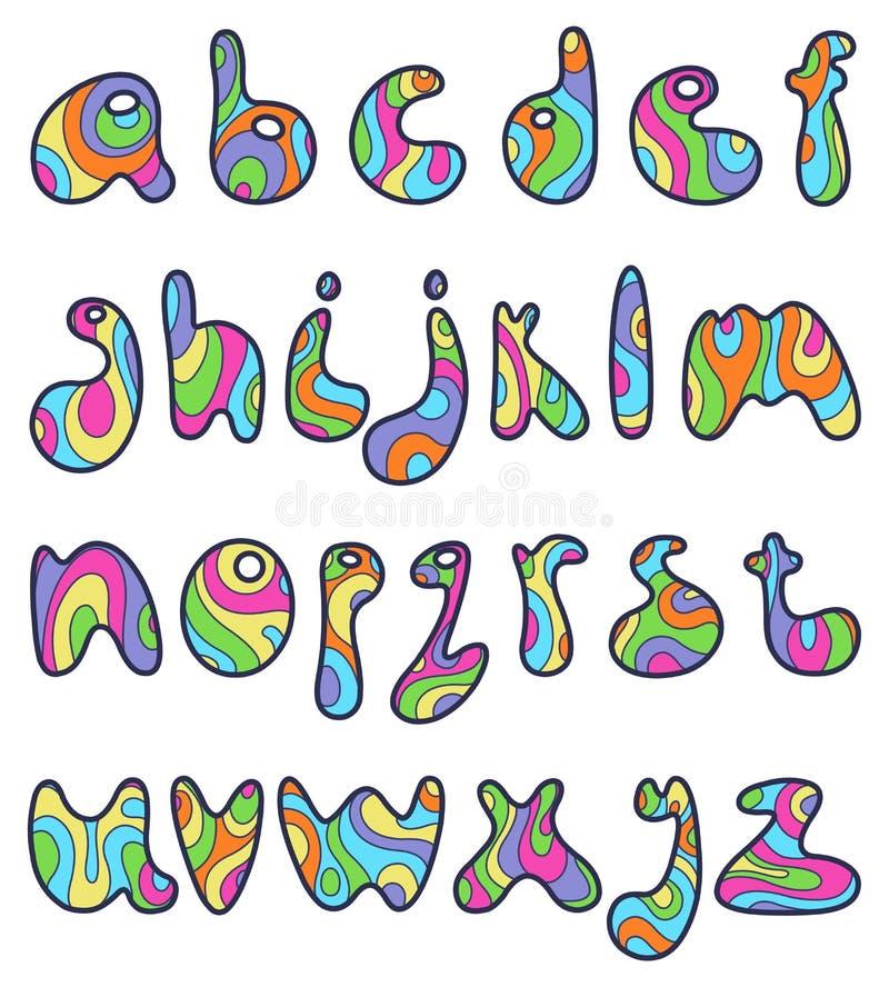 Psychedelic μικρά γράμματα απεικόνιση αποθεμάτων