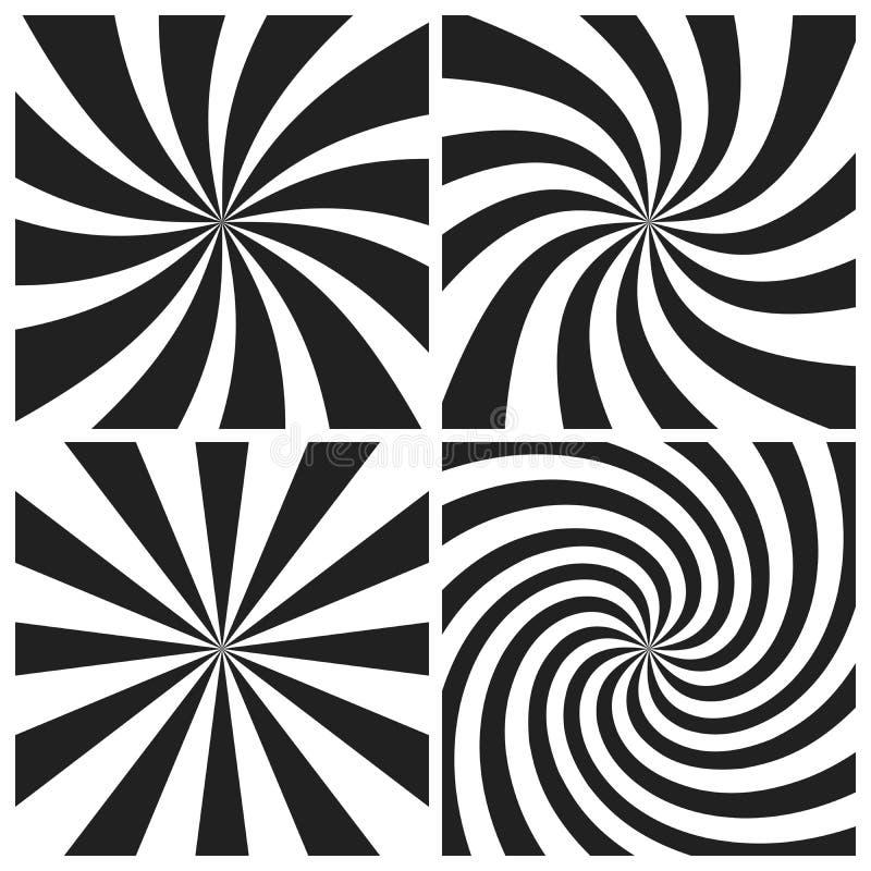 Psychedelic σπείρα με τις ακτινωτές γκρίζες ακτίνες Ο στρόβιλος έστριψε το αναδρομικό υπόβαθρο Κωμικό σύνολο απεικόνισης επίδραση διανυσματική απεικόνιση