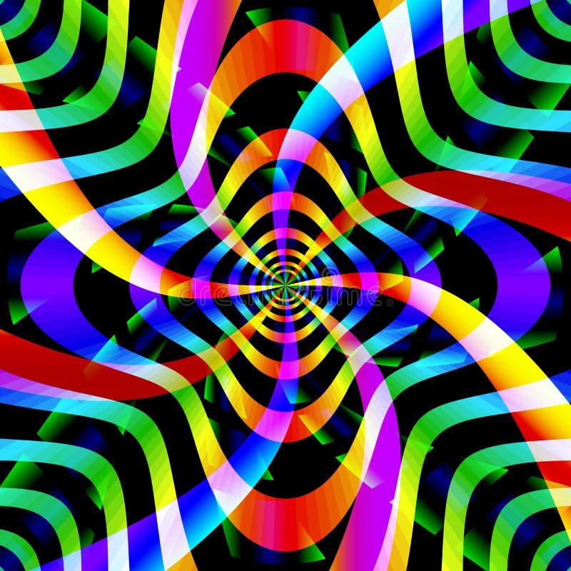 Psychedelic υπόβαθρο με τις μορφές περιστροφής διανυσματική απεικόνιση