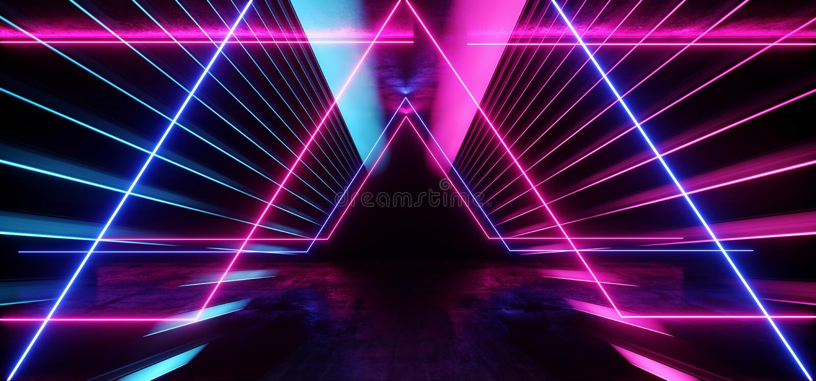 Psychedelic Abstract Futuristic Neon Fluorescent Sci Fi Vibrant Purple Blue Glow Laser Showcase Stage Dark Room Retro Modern. Virtual Background Spaceship royalty free illustration