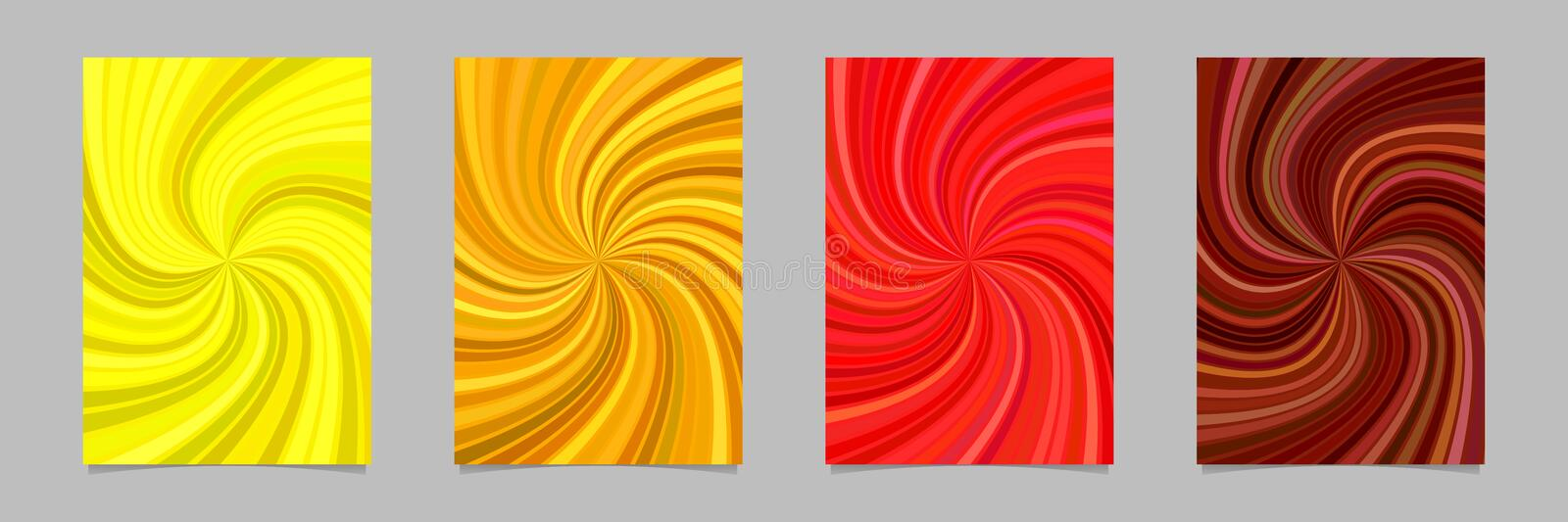Psychedelic abstract spiral burst stripe page background template set vector illustration