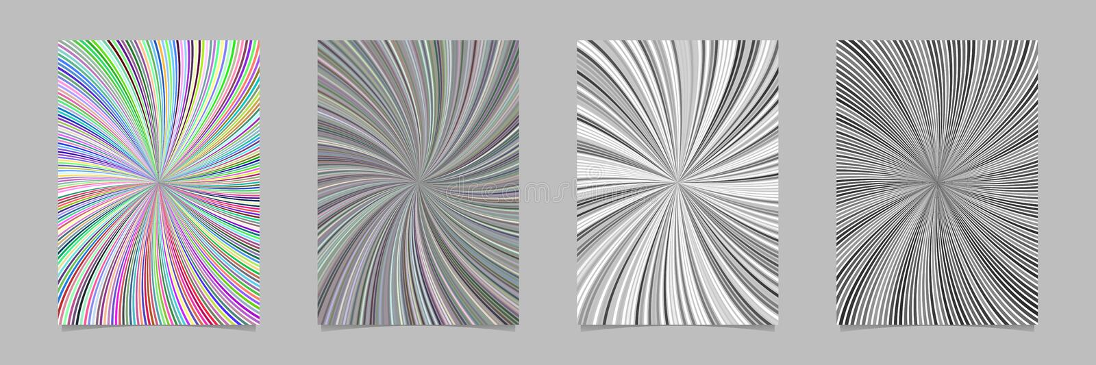 Psychedelic abstract spiral ray stripe page background template set. Vector stationery graphics royalty free illustration