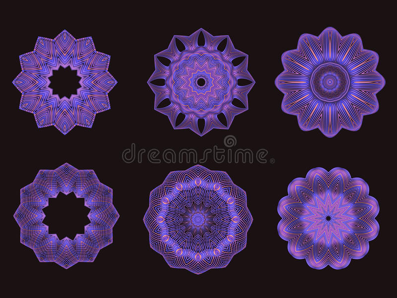 Psychedelic Purple and Pink Kaleidoscope Spirograph Motifs vector illustration
