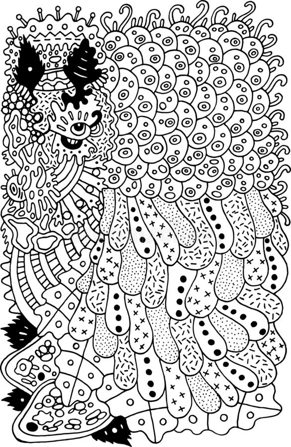 Psychedelic cartoon abstract doodle. Ink line drawing. Coloring page for adults. Vector illustration.  stock illustration