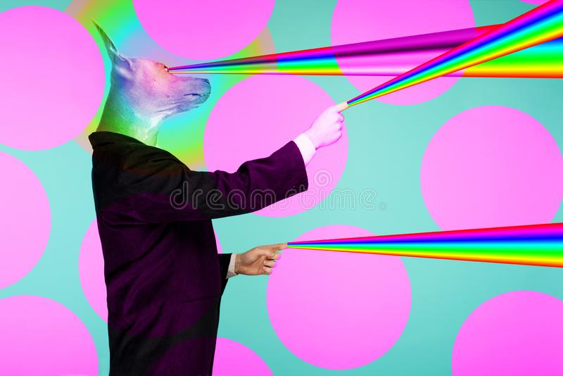 Psychedelic collage portrait of a male businessman with a head of a Chinese crested dog shooting rainbow lasers from fingers and vector illustration