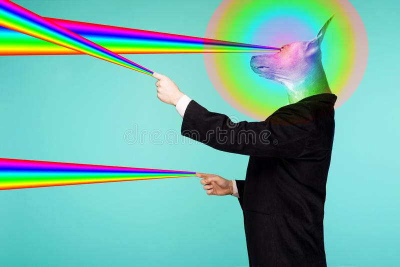 Psychedelic collage portrait of a male businessman with a head of a Chinese crested dog shooting rainbow lasers from fingers and stock image