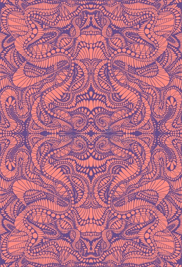 Psychedelic colorful decorative background. Ashen purple lines on coral color background. Ornamental abstract texture stock illustration