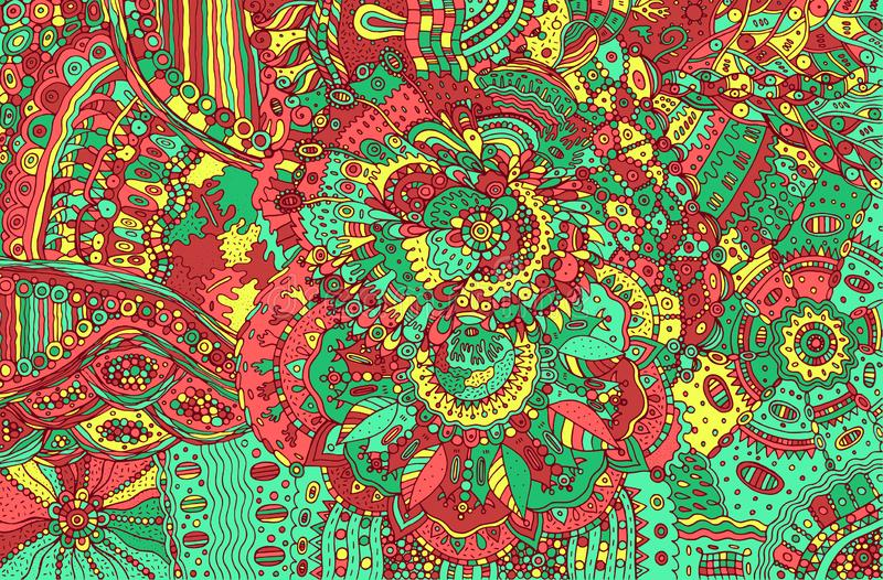 Psychedelic colorful doodle background. Hand drawn pattern with. Floral fantatic elements. Vector illustration royalty free illustration