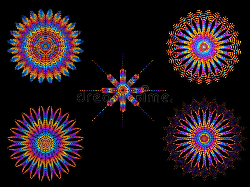 Psychedelic Colorful Kaleidoscope Spirograph Motifs stock illustration