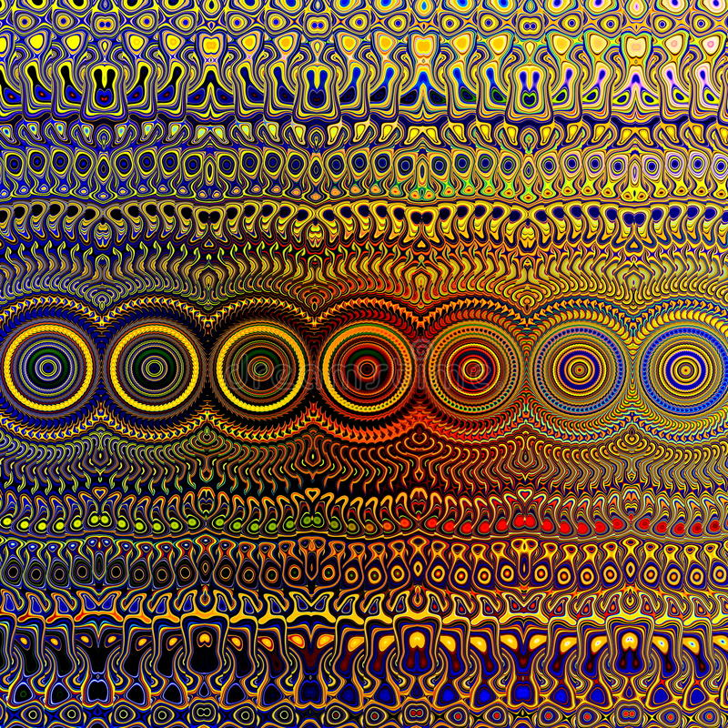 Psychedelic Colourful Pattern. Unique Abstract Artwork. Creative Geometrical Background Design. Fractal Art Illustration. royalty free illustration