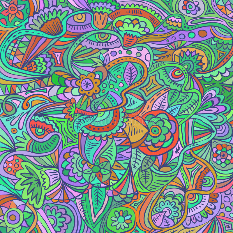 Psychedelic doodle floral abstract pattern. Hand drawn vector. Psychedelic doodle floral rainbow ornament. Vector colorful abstract pattern. Hand drawn style vector illustration
