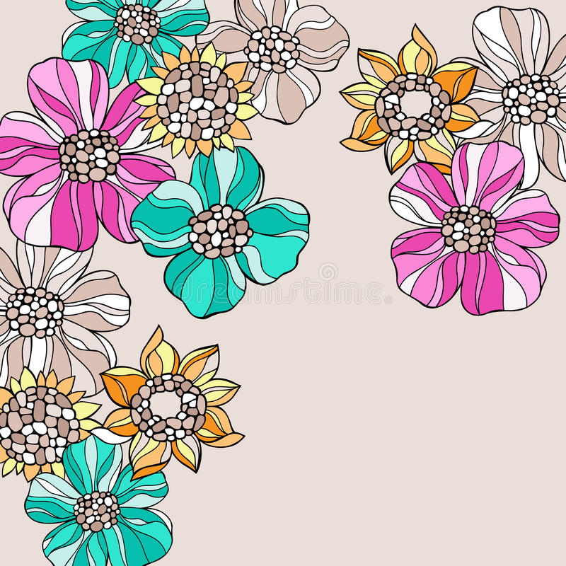 Psychedelic Doodle Flowers Vector vector illustration