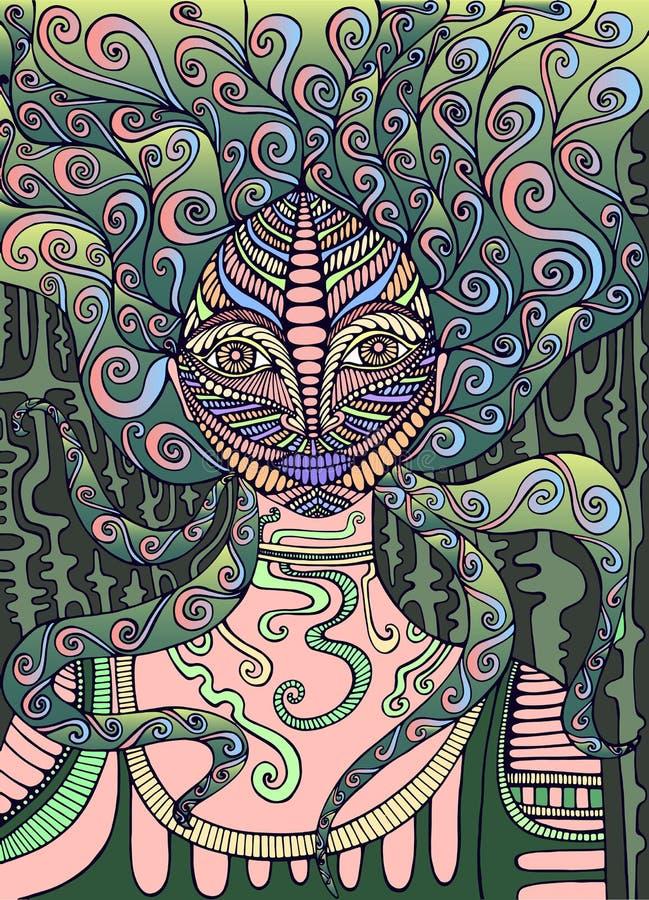 Psychedelic Fairy Shaman. Surreal fantasy doodle woman. Fantastic art with girl. Vector hand drawn fantasy illustration stock illustration