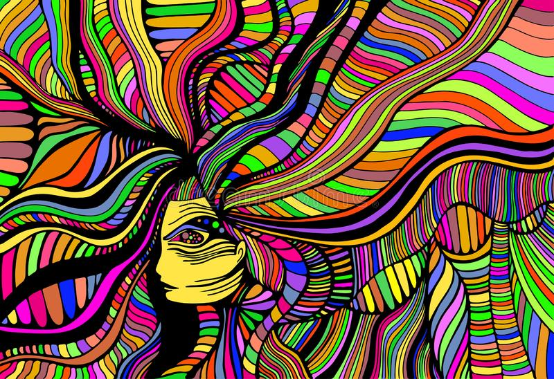 Psychedelic fantasy beautiful girl. Vector hand drawn illustration with fantastic surreal woman. Creative doodle style. Psychedelic fantasy beautiful girl vector illustration