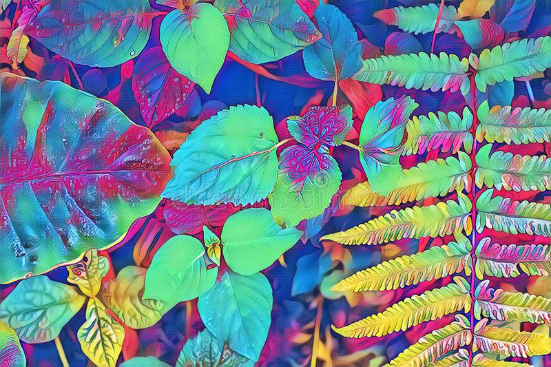 Psychedelic fern leaf and plant closeup. Forest floor colorful digital illustration. Neon fern leaves natural background. Psychedelic fern leaf and plants royalty free stock photography