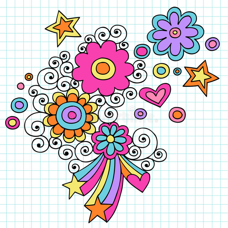 Psychedelic Flowers Notebook Doodle Vector stock illustration