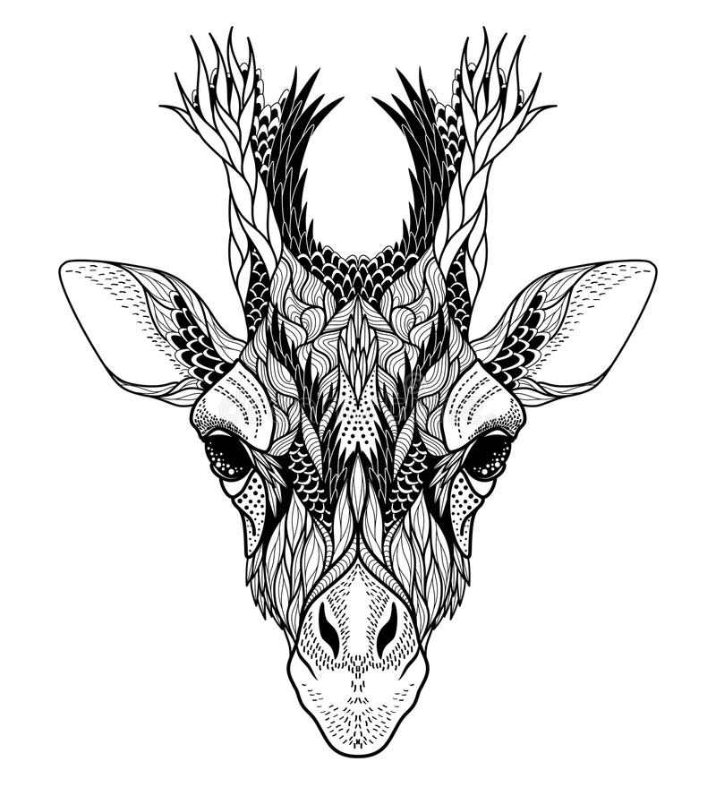 Psychedelic Giraffe επικεφαλής δερματοστιξία διανυσματική απεικόνιση