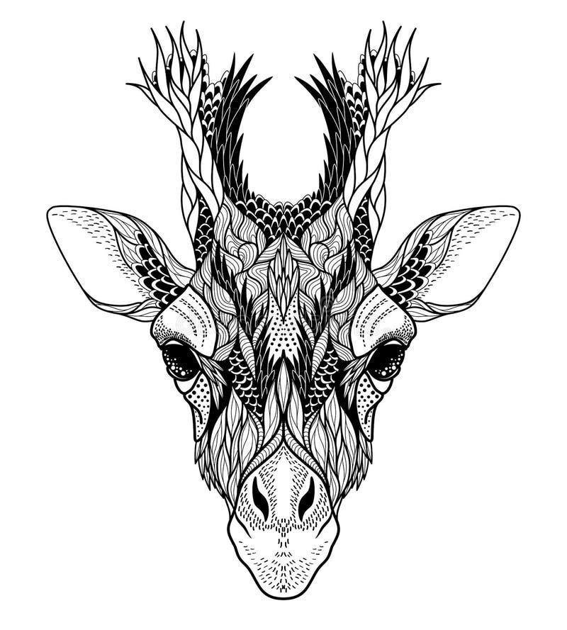 Kleurplaat Fox Psychedelic Giraffe Head Tattoo Stock Vector