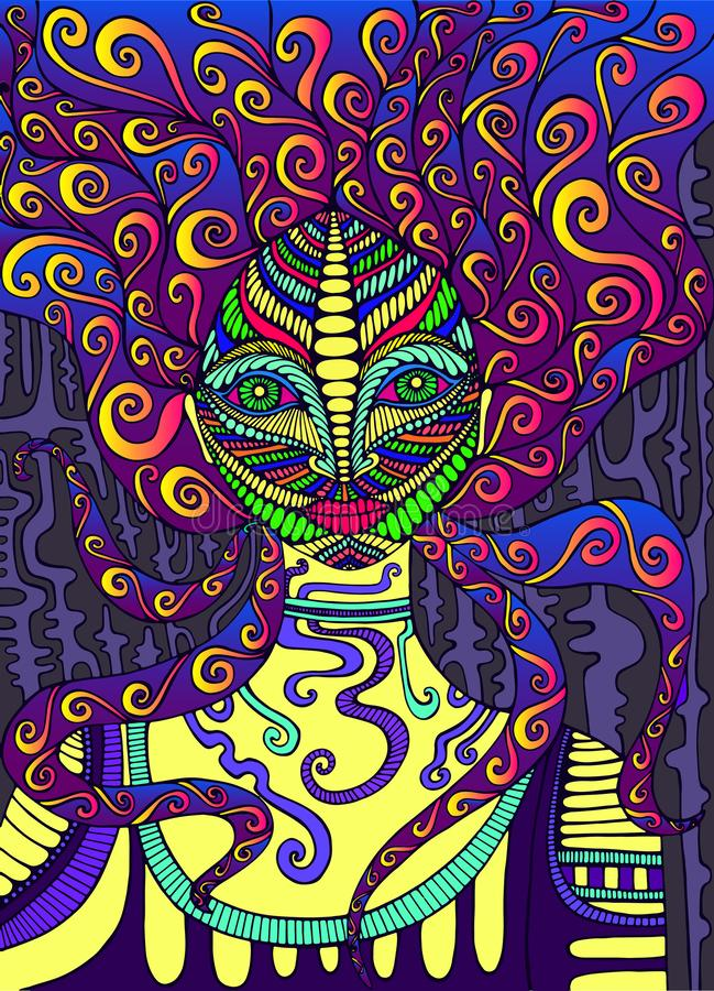 Psychedelic goddess, bright colors. Surreal fantasy doodle artwork. Fantastic art with girl. Vector hand drawn fantasy illustration stock illustration