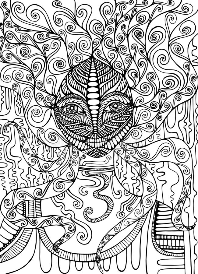 Psychedelic Goddess coloring page. Isolated pattern. Vector hand. Drawn anti stress fantasy mystic girl background vector illustration