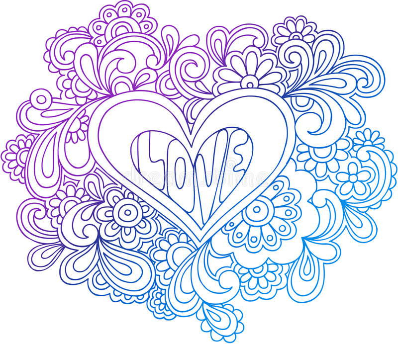 Psychedelic Heart Outline Vector Illustration